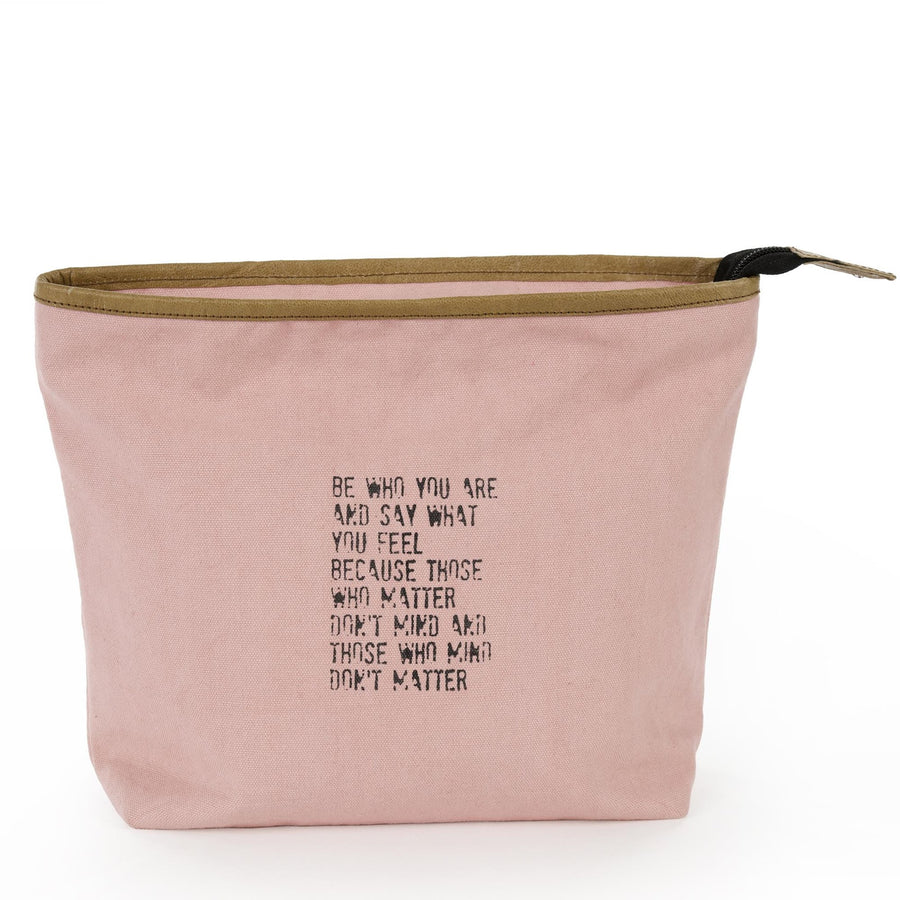 """Be who you are..."" Pink Canvas Zippered Bag"