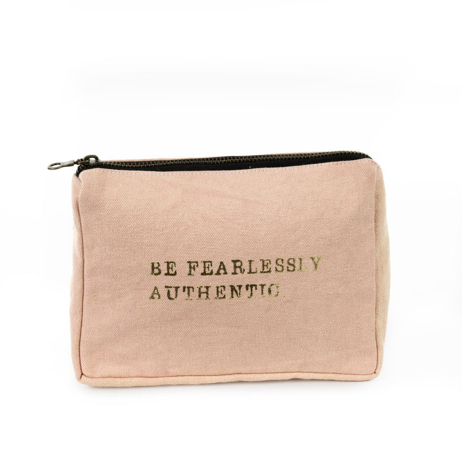 """Fearlessly Authentic"" Blush Pink Canvas Zippered Bag"