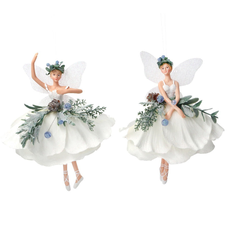 White Fabric Fairy with Eucalyptus and Berries Ornament | Putti Christmas Canada