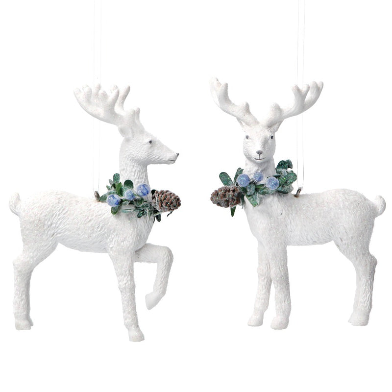 White Resin Reindeer with Eucalyptus and Berries Ornament