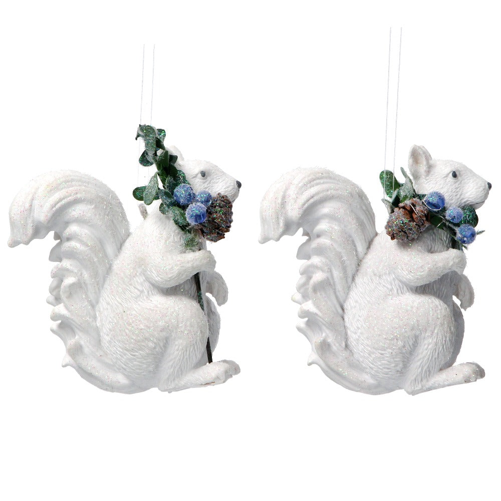 White Resin Squirrel with Eucalyptus and Berries Ornament