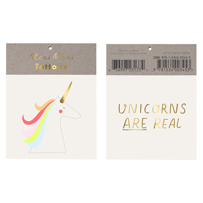 "Meri Meri ""Unicorns Are Real"" Tattoos, MM-Meri Meri UK, Putti Fine Furnishings"