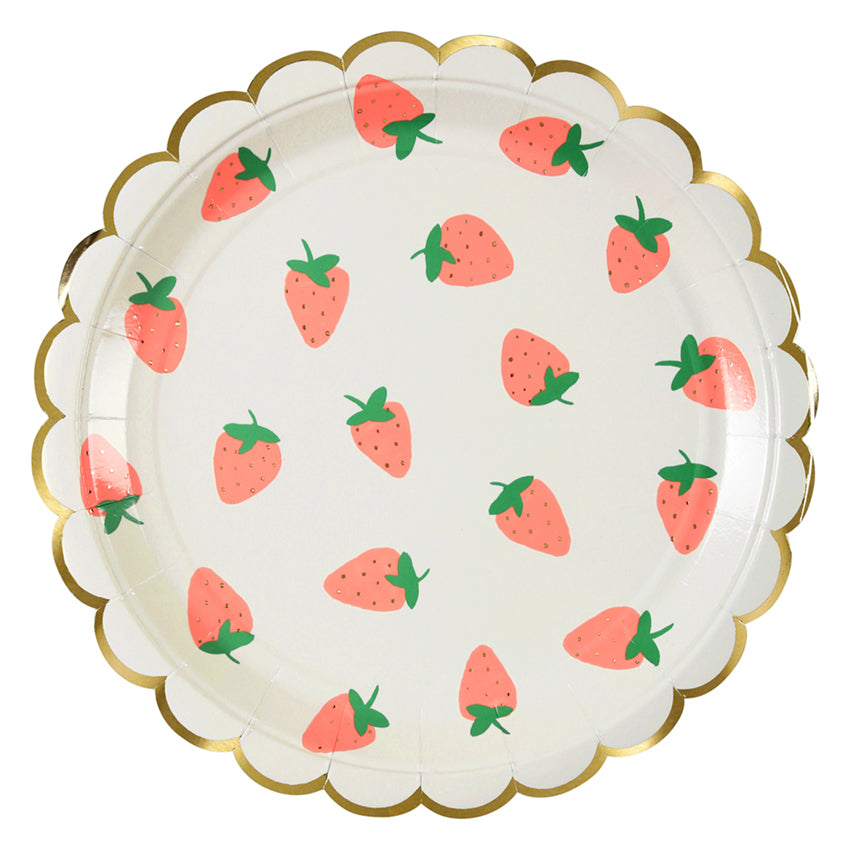 Meri Meri Strawberry Paper Plates - Large, MM-Meri Meri UK, Putti Fine Furnishings