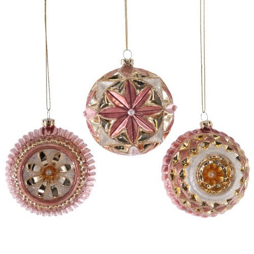 Sculpted Pink Glass Ball Ornament, KC-Katherine's Collection, Putti Fine Furnishings