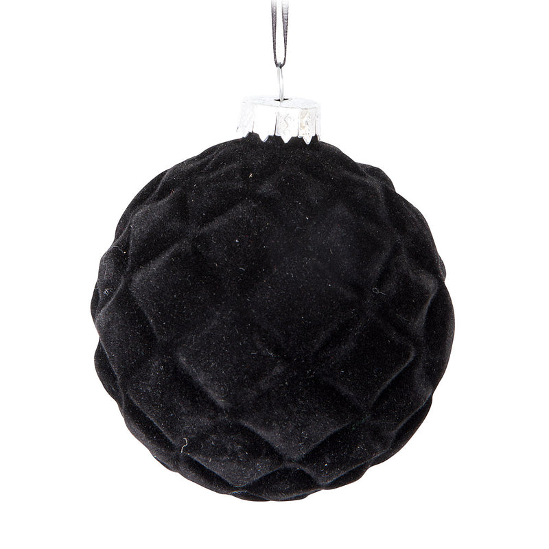 Black Quilted Velvet Glass Ball Ornament | Putti Christmas