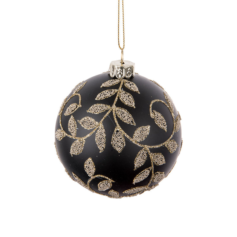 Black with Gold Tailing Leaves Glass Ball Ornament | Putti Christmas Canada