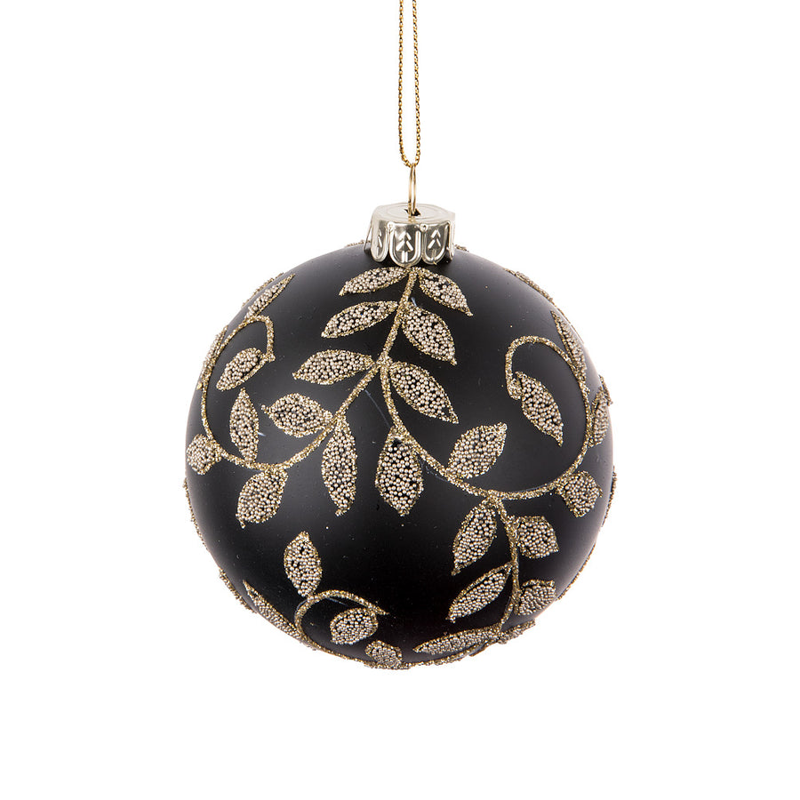Black with Gold Tailing Leaves Glass Ball Ornament