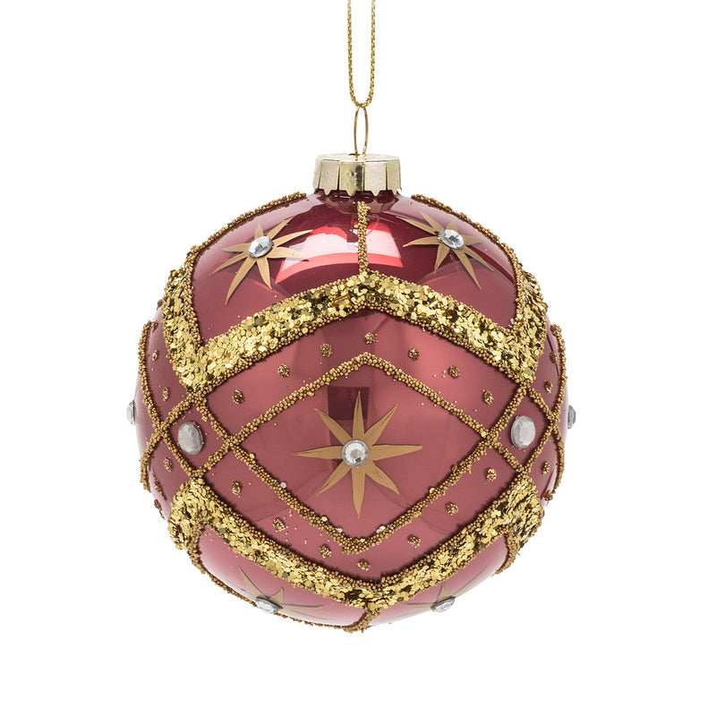Dusty Rose Glass Ball Ornament