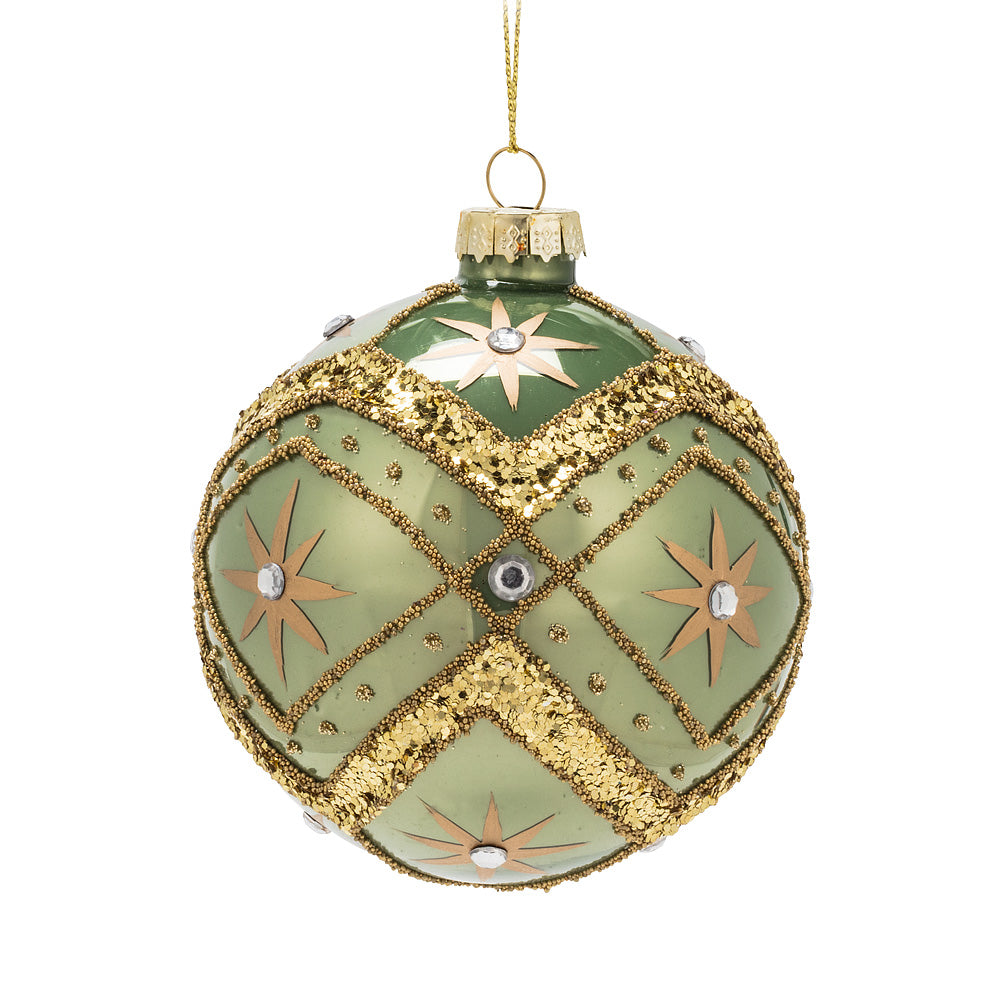 Sage Green & Gold Glass Ball Ornament - Putti Christmas Canada