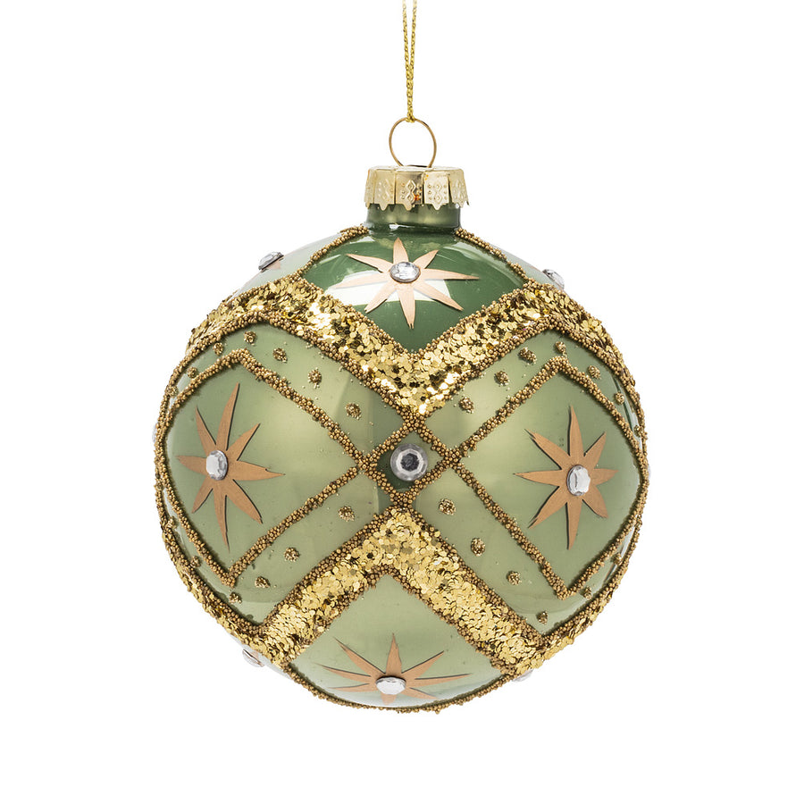 Sage Green & Gold Glass Ball Ornament