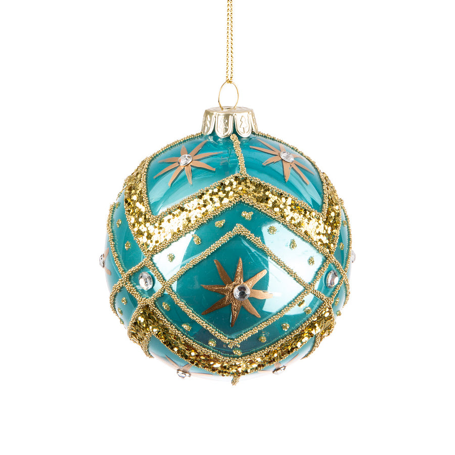 Turquoise and Gold Fancy Glass Ball Ornament