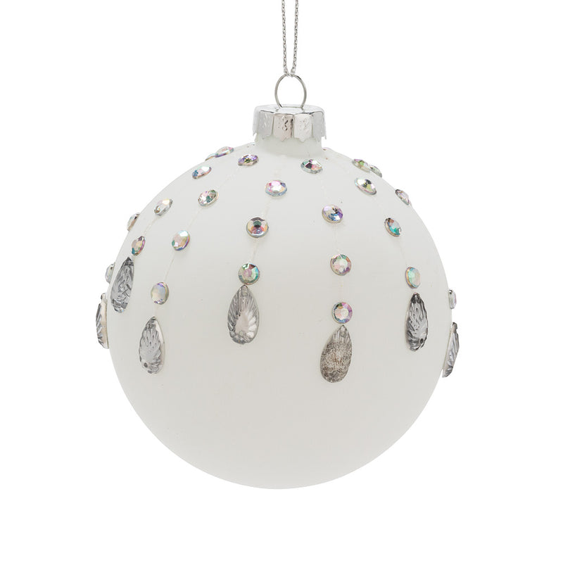 Matte White Glass Ball Ornament with Jewels - Putti Christmas Canada