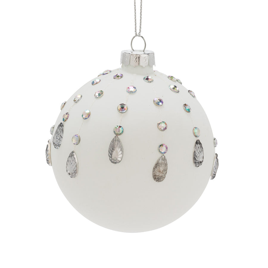 Matte White Glass Ball Ornament with Jewels