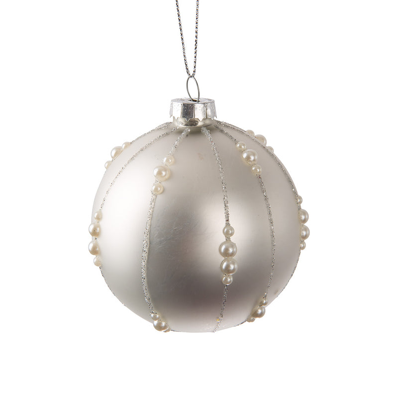 Matte White Ball with Pearls Glass Ball Ornament
