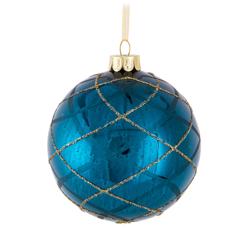 Blue with Gold Swirl Glass Ball Ornament | Putti Christmas