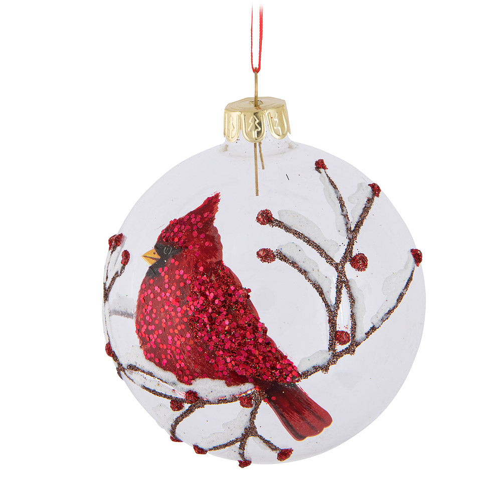 Cardinal Glass Ball Ornament | Putti Christmas Celebrations