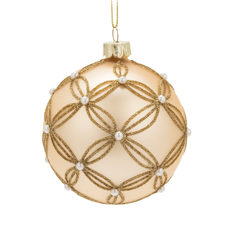 Gold Glass Ball Ornament with Pearls
