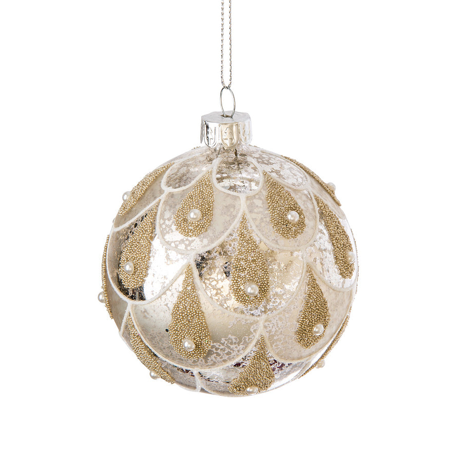 Silver and Gold with Pearls Glass Ball Ornament