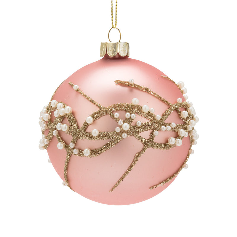 Pink and Pearls Glass Ball Ornament - Putti Christmas Canada