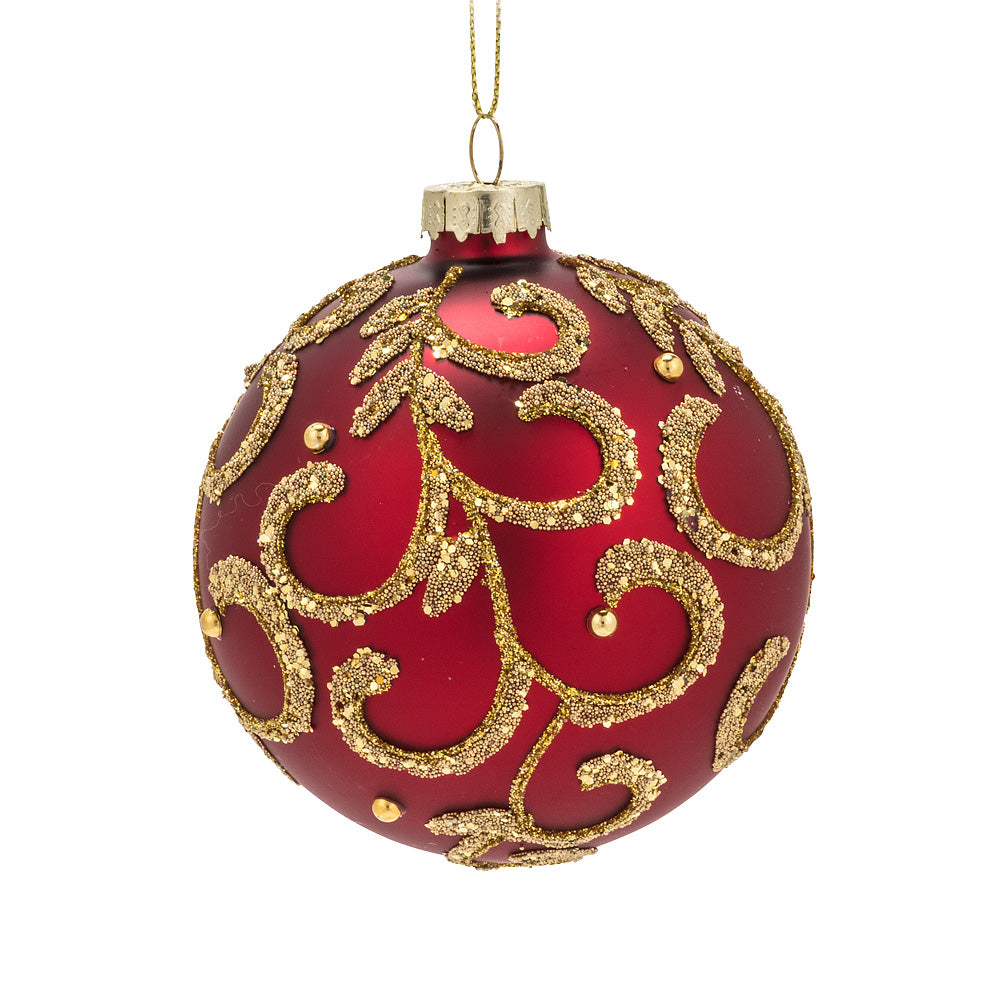 Red and Gold Scroll Glass Ball Ornament - Putti Christmas Canada