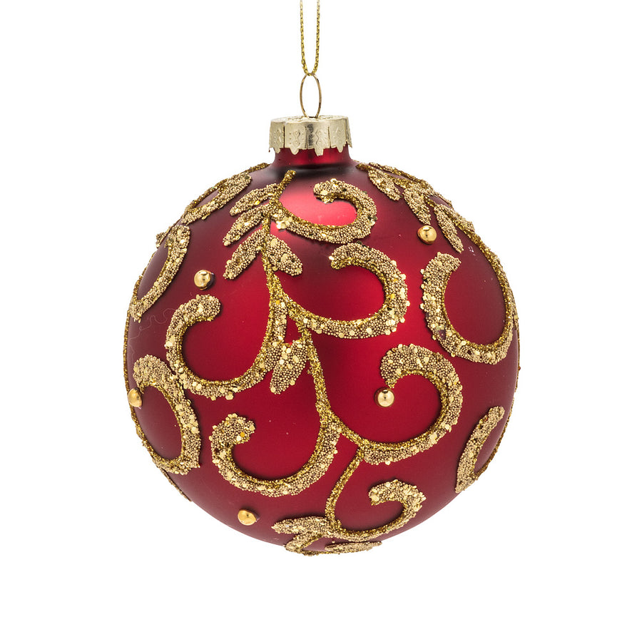 Red and Gold Scroll Glass Ball Ornament