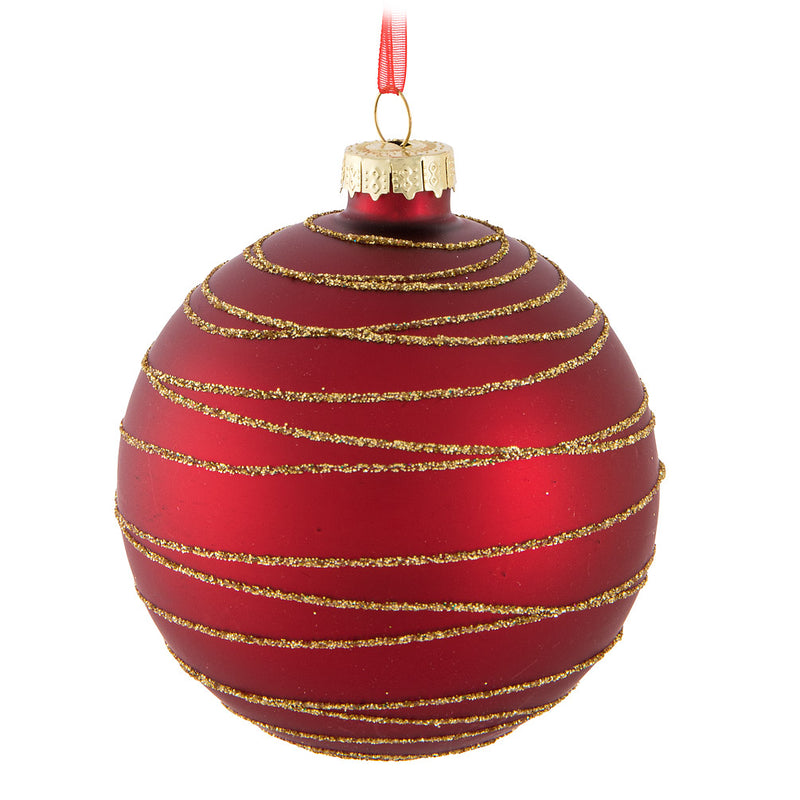 Red Spiral Glass Ball Ornament
