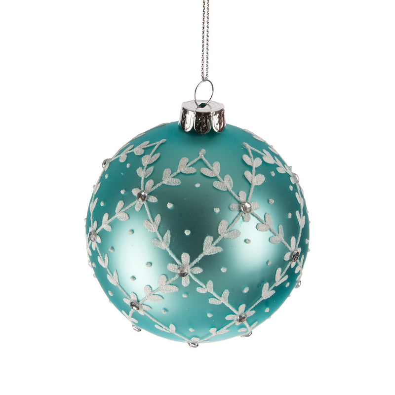 Aqua Leaf Vine Glass Ball Ornament | Putti Christmas Canada