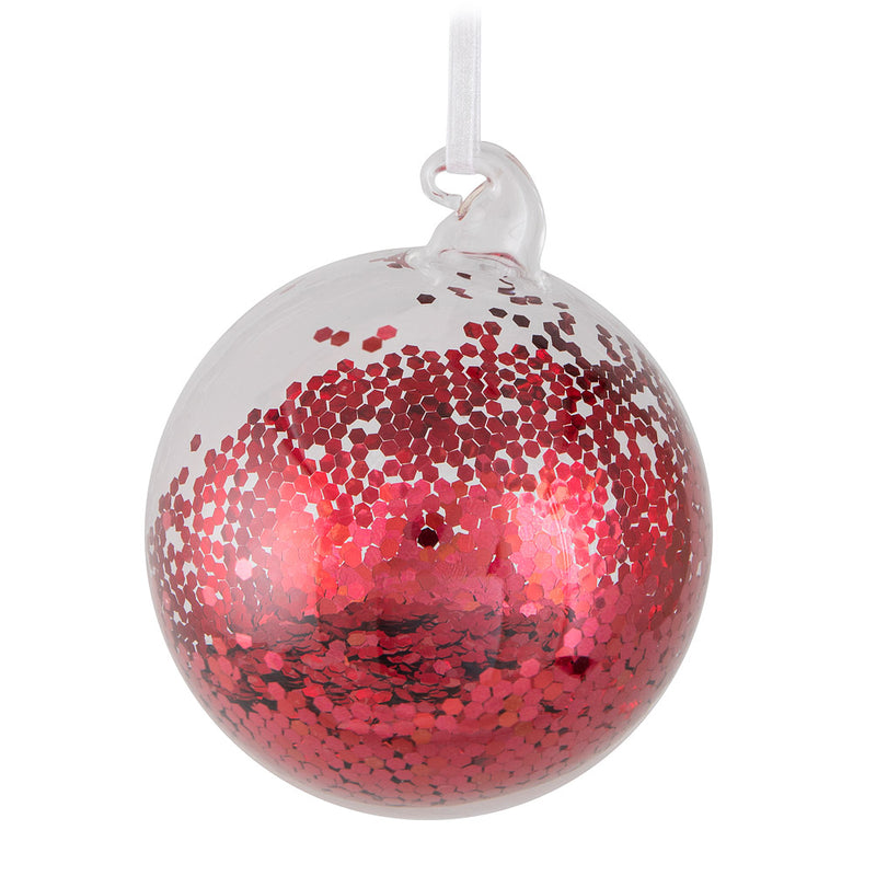 Red Sequin Blown Glass Ball Ornament | Putti Christmas Celebrations