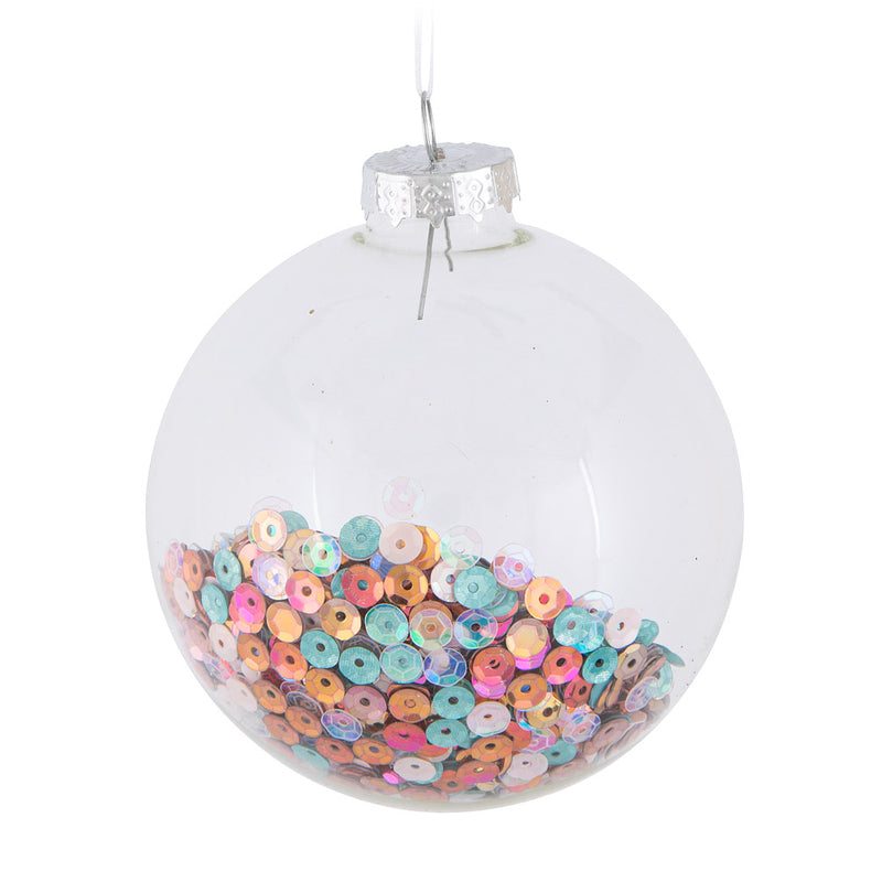 Sequin Glass Ball Ornament | Putti Christmas Canada