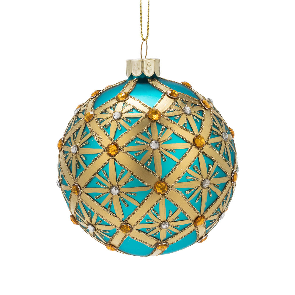 Turquoise and Gold Grid Glass Ball Christmas Ornament