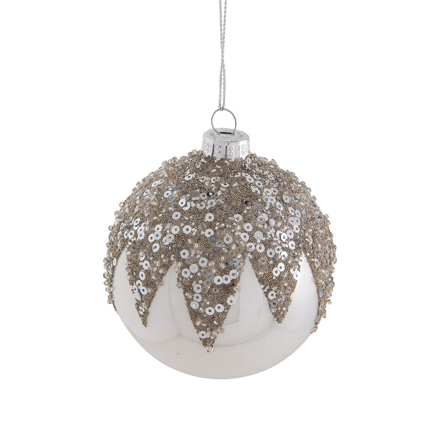 Silver Topped Glass Ball Ornament