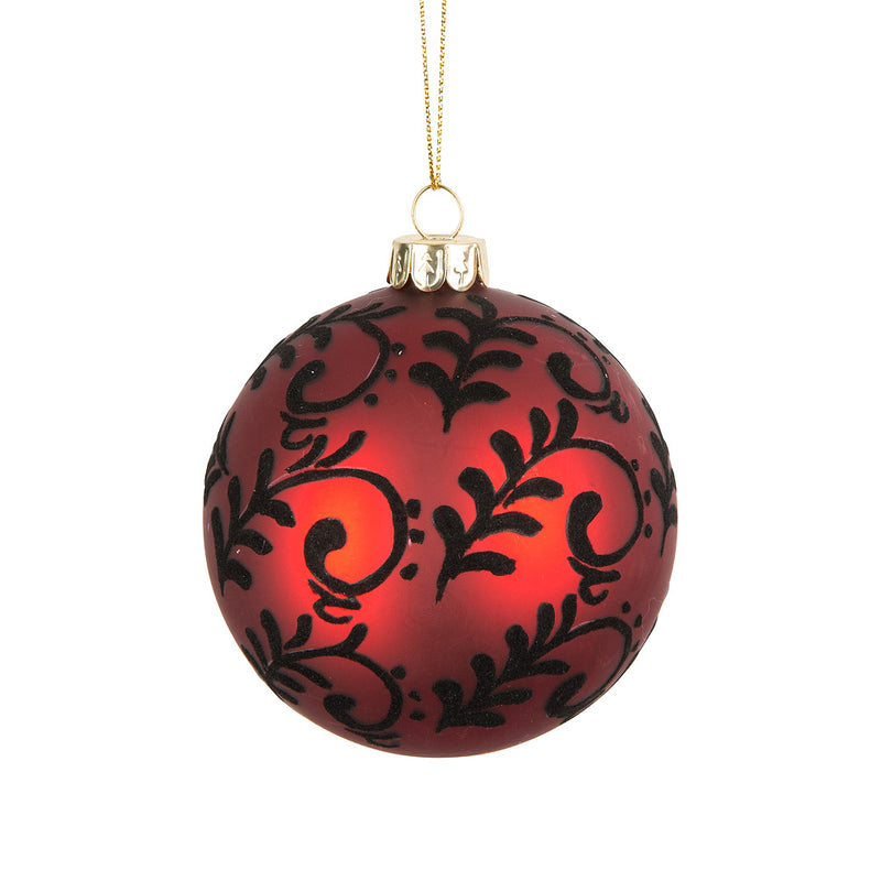 Red Scroll Glass Ball Ornament - Putti Christmas Canada