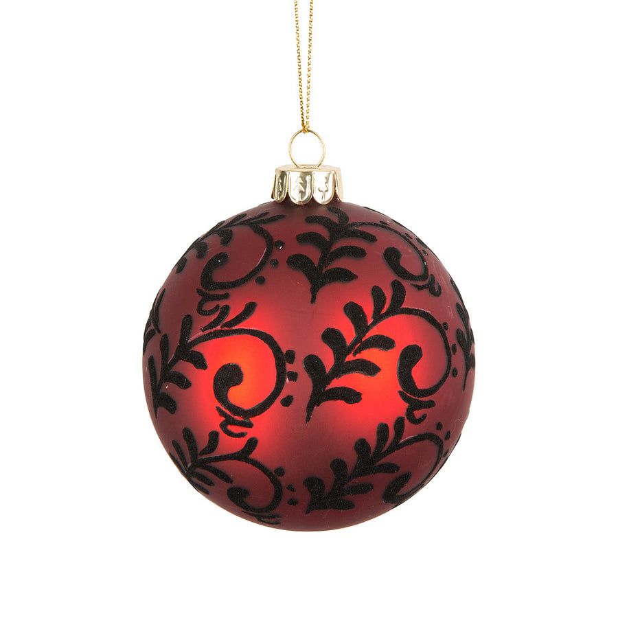 Red Scroll Glass Ball Ornament