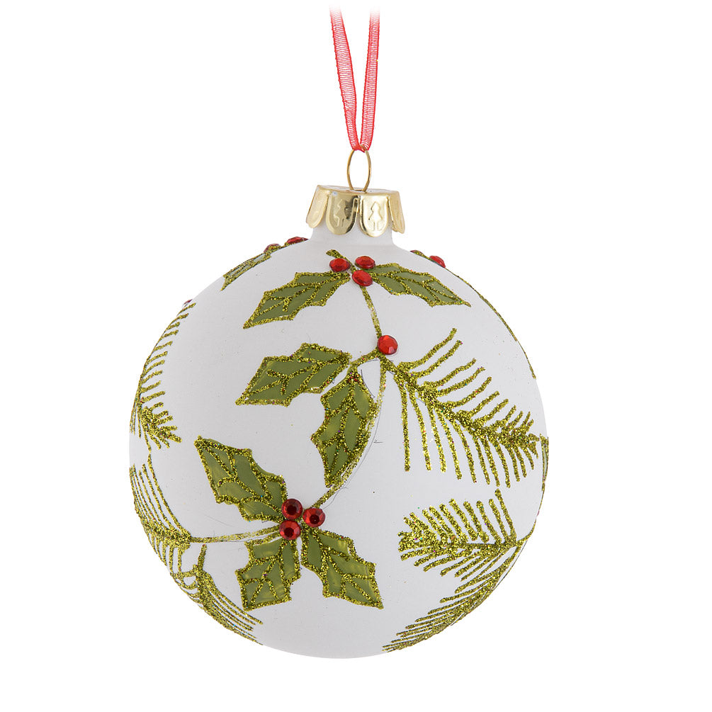 Holly Leaf Glass Ball Ornament | Putti Christmas Celebrations