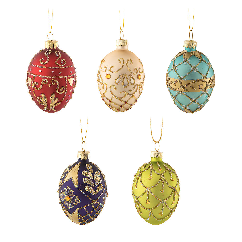 Medium Ornate Faberge Egg Ornaments | Putti Christmas Celebrations