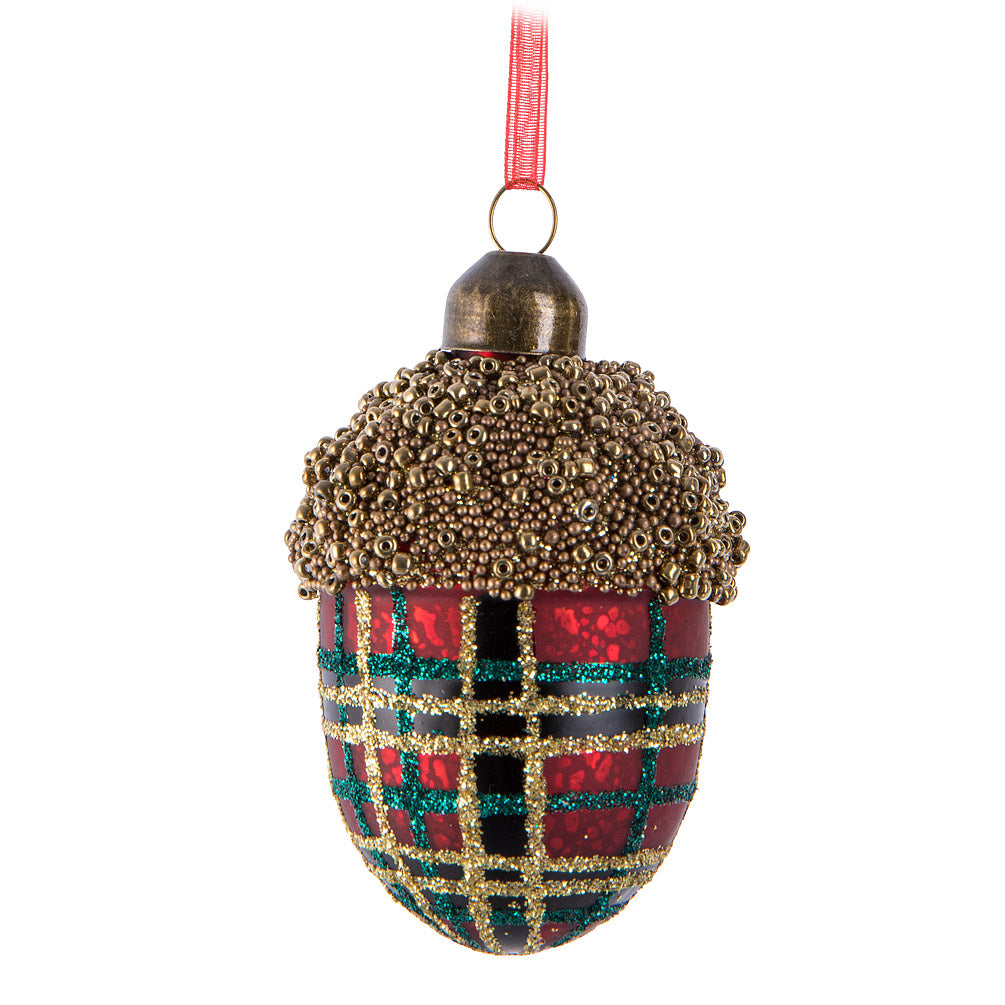 Red & Green Tartan Glass Acorn Ornament  | Putti Christmas Celebrations