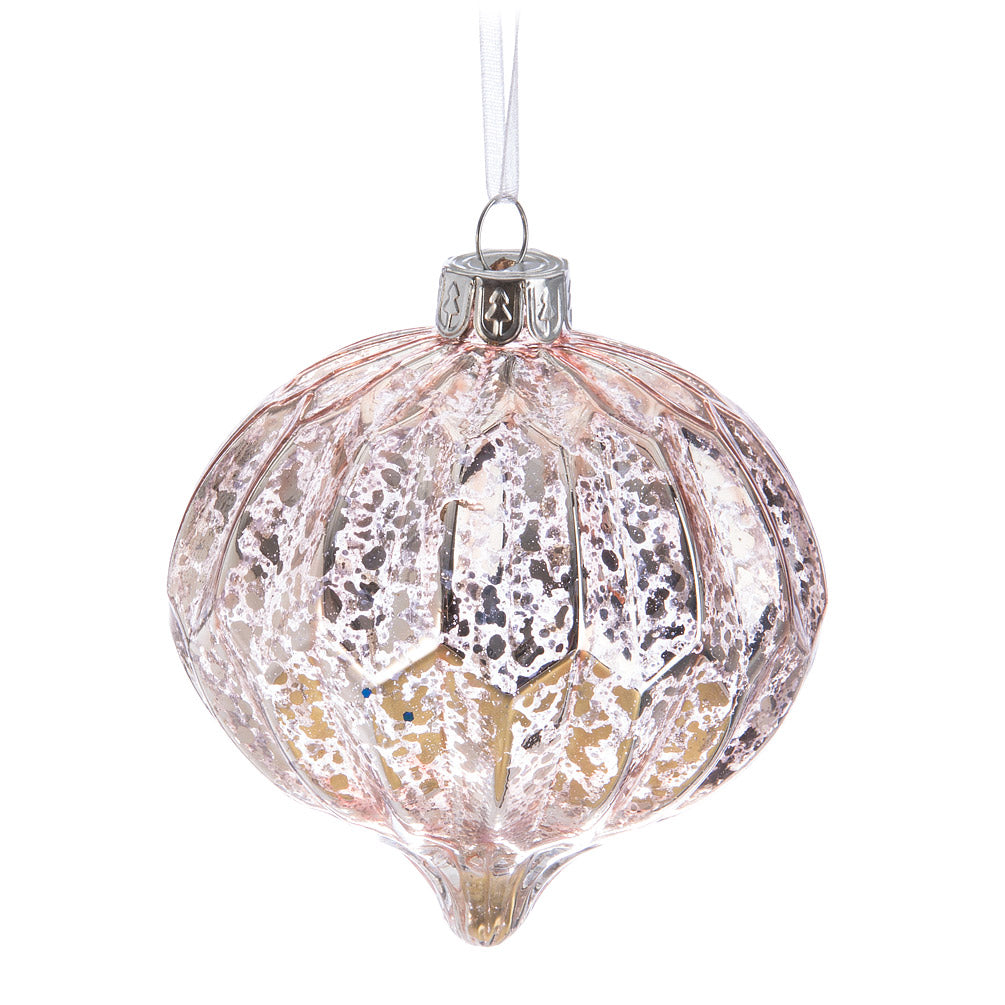 Antique Pink & Silver Glass Onion Ornament | Putti Christmas