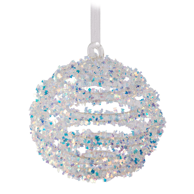 Coil Iris Glitter Glass Ball Ornament | Putti Christmas Canada