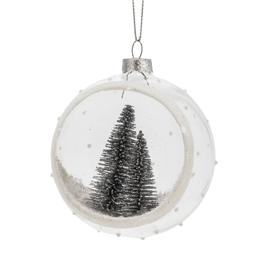 Glitter Brush Tree Half Ball Glass Ornament