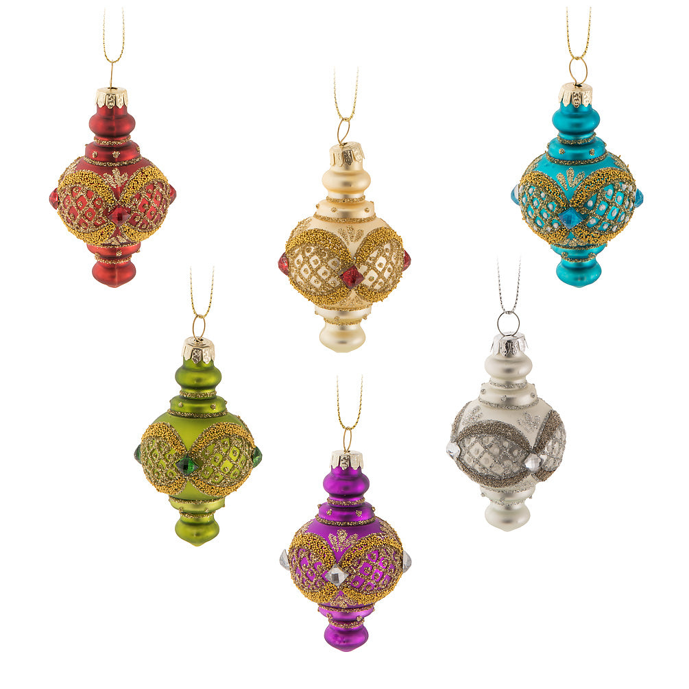 Top Shape Ornate Glass Ornaments - Set of 6
