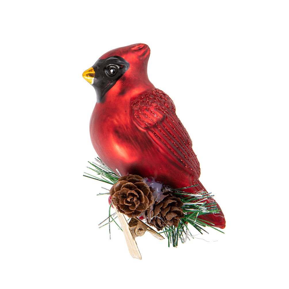 Cardinal with Fir Clip Ornament |  Putti Christmas Canada