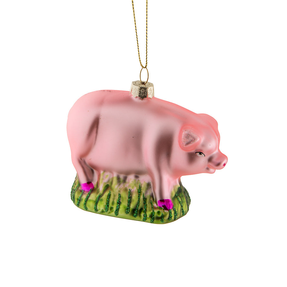 Grazing Pig Glass Ornament | Putti Christmas Celebrations