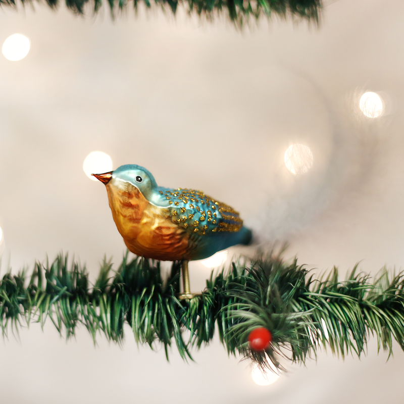 Old World Christmas Forest Finch Glass Bird Ornament, OWC-Old World Christmas, Putti Fine Furnishings