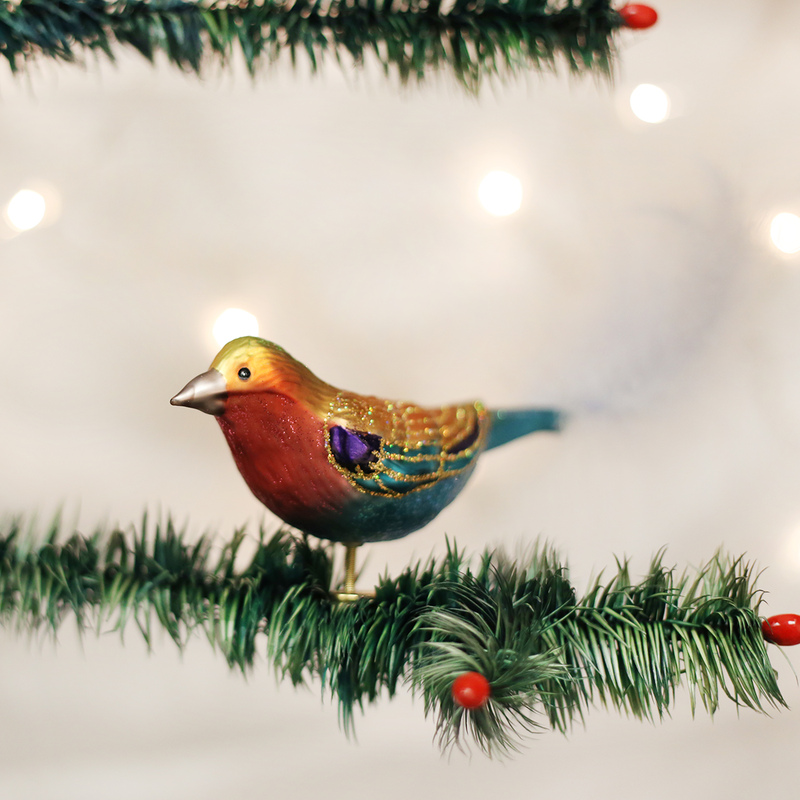 Old World Christmas Lilac-breasted Roller Glass Bird Ornament