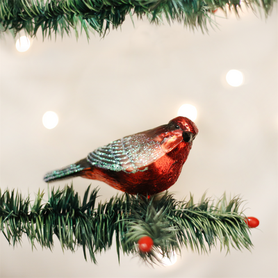 Old Word Christmas Vermillion Flycatcher Bird Glass Ornament, OWC-Old World Christmas, Putti Fine Furnishings