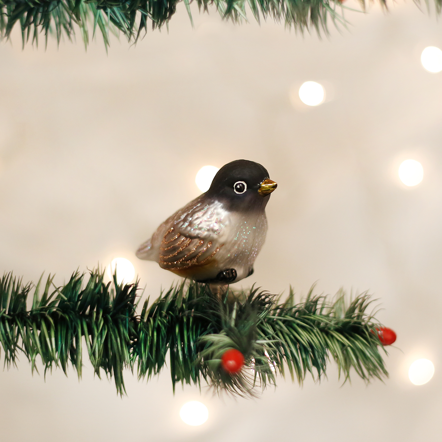 Old Word Christmas Baby Robin Glass Ornament