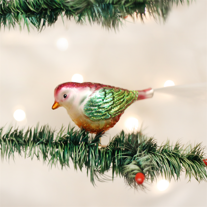 Old Word Christmas Chubby Birdie Glass Ornament