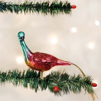 Old Word Christmas Ruby Peacock Glass Ornament, OWC-Old World Christmas, Putti Fine Furnishings