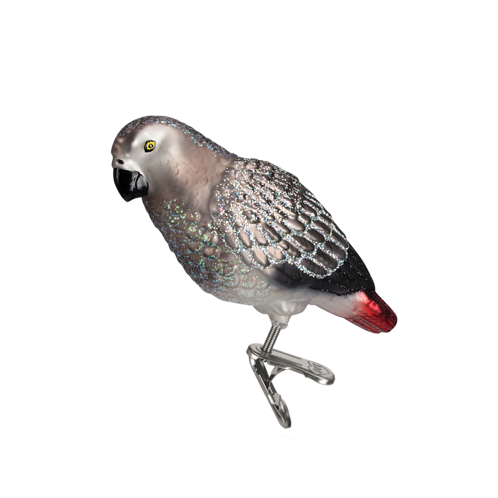 Old Word Christmas African Grey Parrot Glass Ornament