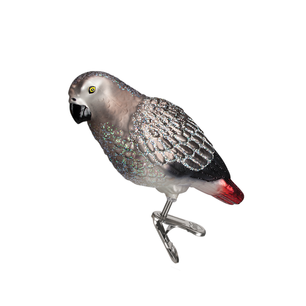 Old Word Christmas African Grey Parrot Glass Ornament -  Christmas Decorations - Old World Christmas - Putti Fine Furnishings Toronto Canada - 1